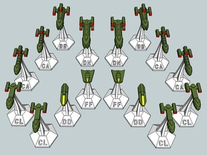 MicroFleet Tridran Heavy Battle Group (16pcs) in Smooth Fine Detail Plastic
