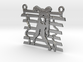 Zombie On A Fence Pendant  in Natural Silver