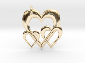 Linking Hearts Pendant in 14K Yellow Gold