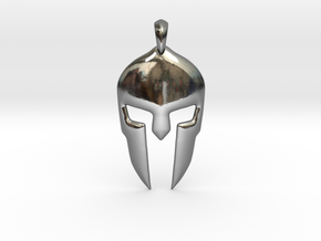 Spartan Helmet Jewelry Pendant in Fine Detail Polished Silver