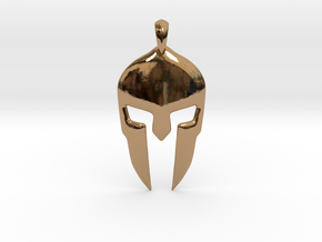 Spartan Helmet Jewelry Pendant in Polished Brass