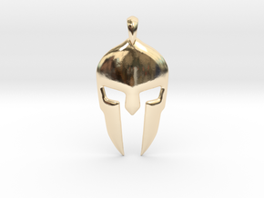 Spartan Helmet Jewelry Pendant in 14K Yellow Gold