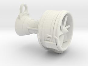 Turbofan Engine Key Fob in White Natural Versatile Plastic
