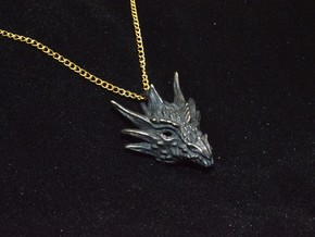 Umbral Dragon Pendant in Polished and Bronzed Black Steel