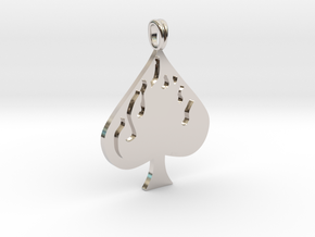 Flaming SPADE Jewelry Symbol Lucky Pendant  in Rhodium Plated Brass