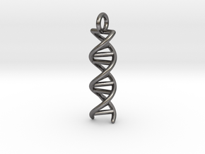 DNA Double Helix Pendant in Polished Nickel Steel