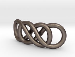 Double Infinity in Polished Bronzed Silver Steel