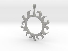 Tribal Sun Design Jewelry Symbol Pendant in Aluminum