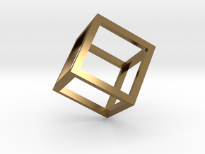 Cube Outline Pendant in Polished Bronze