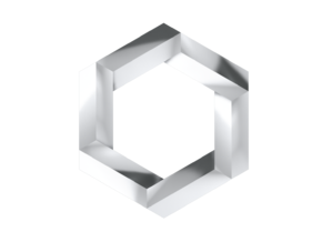 Impossible Hexagon Pendant in Polished Silver