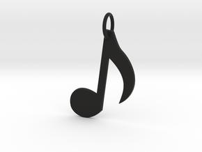 Music Note Keychain in Black Natural Versatile Plastic