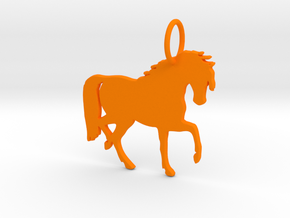 Horse Keychain in Orange Processed Versatile Plastic