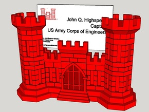 US Army Engineer Castle Business Card Holder in Full Color Sandstone