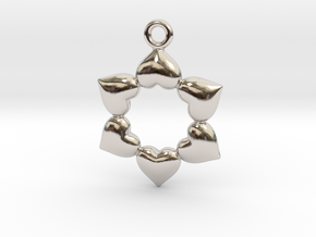 Round Dance Of Hearts in Rhodium Plated Brass