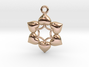 Round Dance Of Hearts  2 in 14k Rose Gold Plated Brass