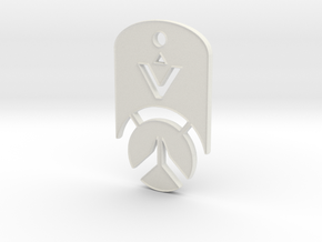 Overwatch Dog Tag *beveled edges* (Necklace) in White Natural Versatile Plastic