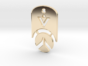 Overwatch Dog Tag *beveled edges* (Necklace) in 14k Gold Plated Brass