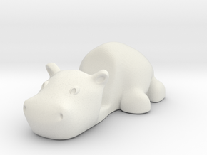 Keychain Hippo / stmarphone Stand in White Natural Versatile Plastic