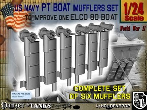 1-24 PT Boat Mufflers Set in Frosted Ultra Detail