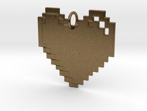 8-bit Heart in Natural Bronze