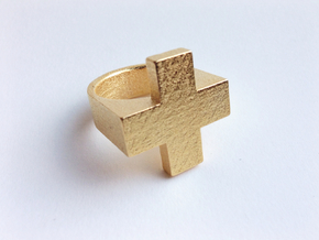 Plus Ring   in Polished Gold Steel