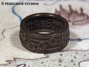 Ring - Saria's Song in Polished Bronzed Silver Steel: 13 / 69