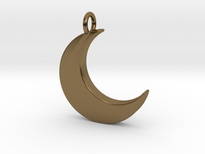 Crescent Moon Pendant in Polished Bronze