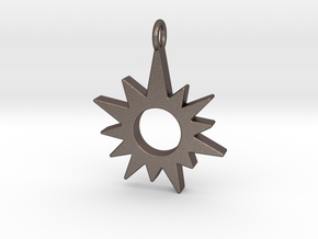 Sunburst Pendant in Polished Bronzed Silver Steel