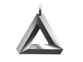 Penrose Triangle Pendant MK II in Polished Silver