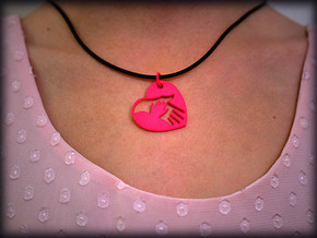 Mother child holding hands in Pink Processed Versatile Plastic