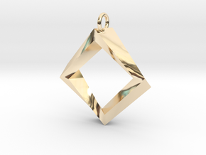 Impossible Square Pendant in 14k Gold Plated Brass