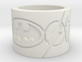 Superheros Engraved Ring in White Natural Versatile Plastic: 4 / 46.5