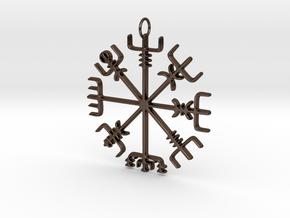 Vegvísir Pendant in Polished Bronze Steel