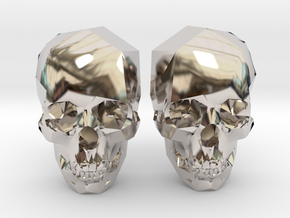 Cufflink Skull in Rhodium Plated Brass