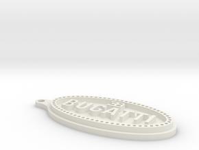 Bugatti Logo Keychain in White Natural Versatile Plastic