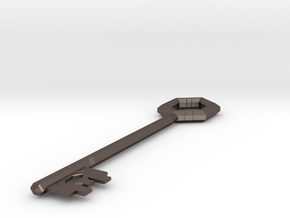 League Hex Chest Key in Polished Bronzed Silver Steel
