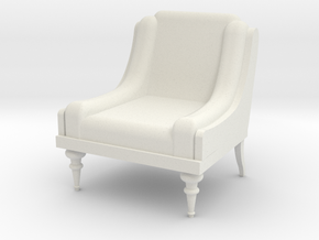Low Armchair 1:25  in White Natural Versatile Plastic