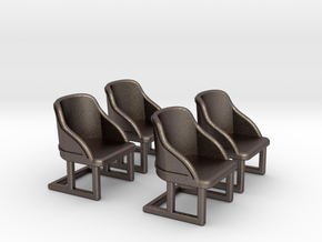 Chair: Cafe or Bistro chair. Four piece set. in Polished Bronzed Silver Steel
