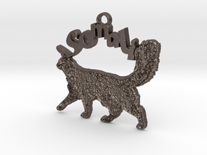 Somali Cat Breed Pendant in Polished Bronzed Silver Steel