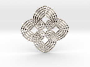 0557 Motion Of Points Around Circle (5cm) #034 in Rhodium Plated Brass