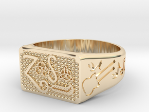 Size 11 FOUR SYMBOLS  in 14K Yellow Gold