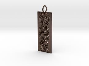 Adinkra Triple Symbols Pendant in Polished Bronze Steel