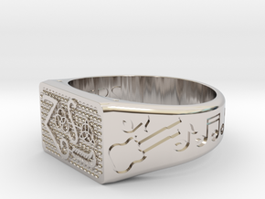 Size 10 FOUR SYMBOLS  in Rhodium Plated Brass