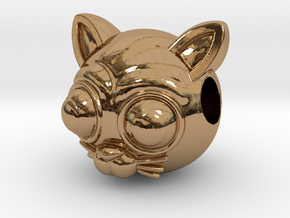Reversible Cat head pendant in Polished Brass
