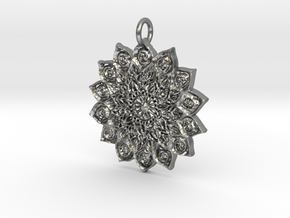Wheel Flower Pendant in Natural Silver