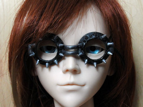 Goggles Punk Goth Spiked 1/3 SD doll scale in White Natural Versatile Plastic