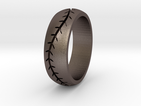 Baseball Band 7mm Sz 10.5 in Polished Bronzed Silver Steel
