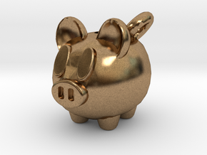 Piggy Bank Keychain Charm in Natural Brass