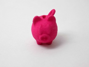 Piggy Bank Keychain Charm in Pink Processed Versatile Plastic