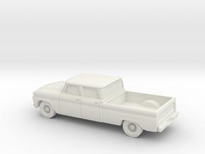1/87 1966 Chevrolet C10 Crew Cab in White Natural Versatile Plastic